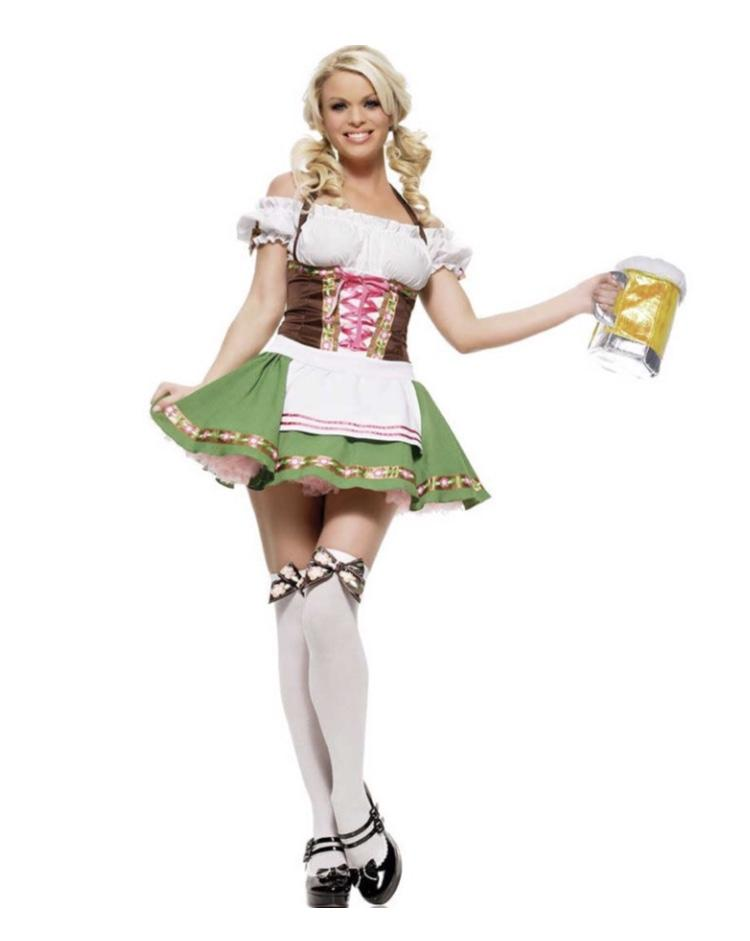 Oktoberfest Dirndl Green German Girl Costume - The Costume Company | Fancy Dress Costumes Hire and Purchase Brisbane and Australia