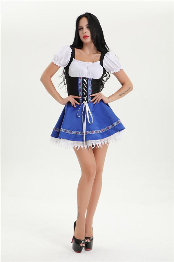 Oktoberfest Fraulein Black and Blue Dress - Plus Size - The Costume Company | Fancy Dress Costumes Hire and Purchase Brisbane and Australia