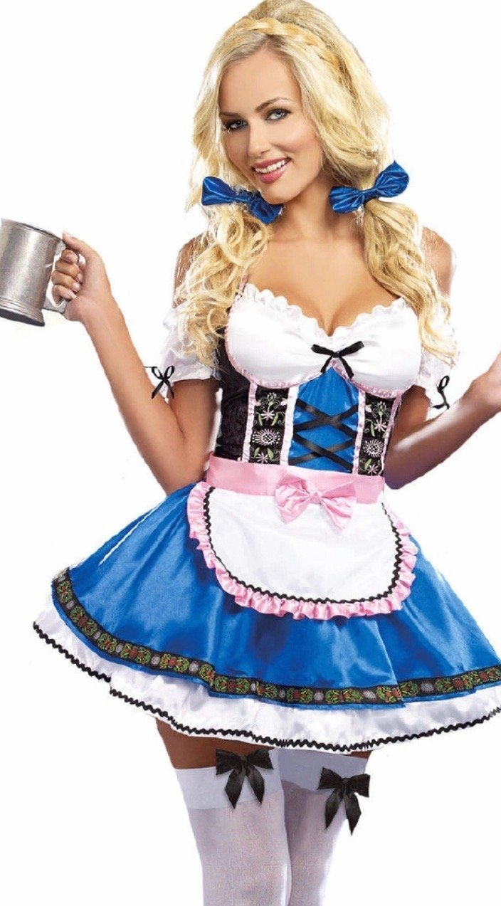 Oktoberfest Fraulein Blue and Pink Beer Maid - The Costume Company | Fancy Dress Costumes Hire and Purchase Brisbane and Australia