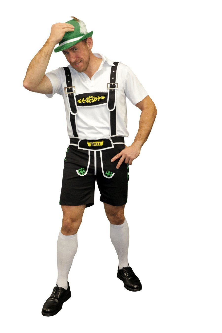 Oktoberfest Men's Black Lederhosen - The Costume Company | Fancy Dress Costumes Hire and Purchase Brisbane and Australia