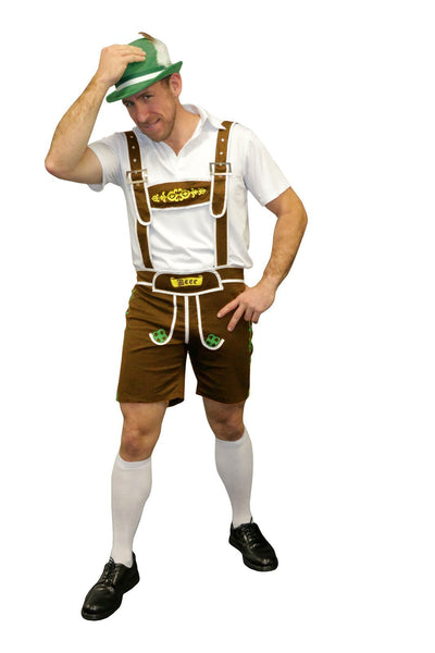 Oktoberfest Men's Brown Lederhosen - The Costume Company | Fancy Dress Costumes Hire and Purchase Brisbane and Australia
