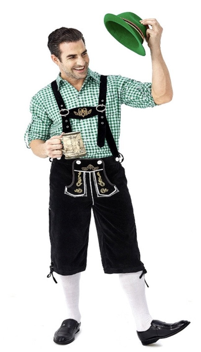 Oktoberfest Suede Look Men's Black Lederhosen with Pockets and Green Shirt - The Costume Company | Fancy Dress Costumes Hire and Purchase Brisbane and Australia