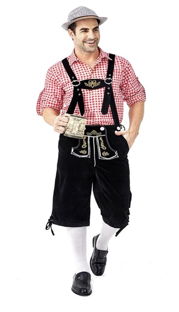 Oktoberfest Suede Look Men's Black Lederhosen with Pockets and Red Shirt - The Costume Company | Fancy Dress Costumes Hire and Purchase Brisbane and Australia