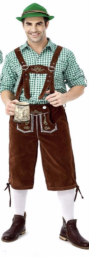 Oktoberfest Suede Look Men's Brown Lederhosen with Pockets and Green Shirt - The Costume Company | Fancy Dress Costumes Hire and Purchase Brisbane and Australia