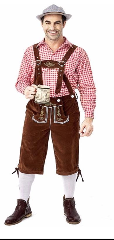 Oktoberfest Suede Look Men's Brown Lederhosen with Pockets and Red Shirt - The Costume Company | Fancy Dress Costumes Hire and Purchase Brisbane and Australia