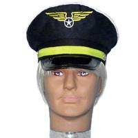 Pilot Hat - Black with Wings - The Costume Company | Fancy Dress Costumes Hire and Purchase Brisbane and Australia