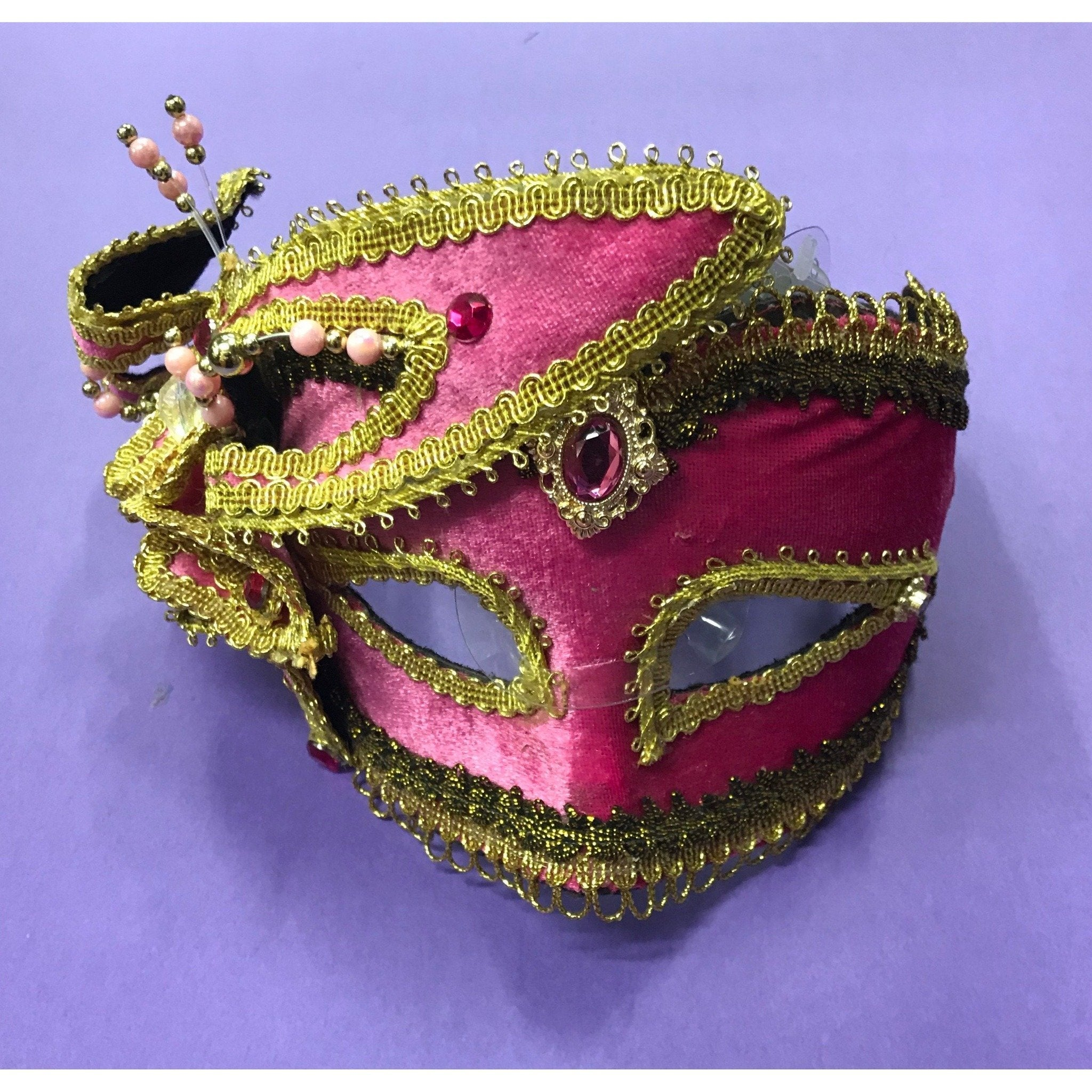 Pink Carnival Masquerade Mask - The Costume Company | Fancy Dress Costumes Hire and Purchase Brisbane and Australia