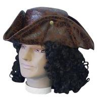 Pirate Tricorn Hat - Brown - The Costume Company | Fancy Dress Costumes Hire and Purchase Brisbane and Australia