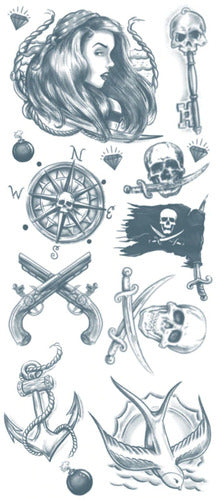 Pirate Buccaneer Temporary Tattoo