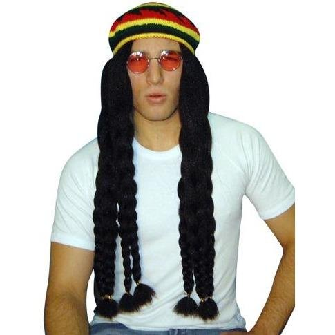 Rasta Braids W/Knit Beret Wig - The Costume Company | Fancy Dress Costumes Hire and Purchase Brisbane and Australia