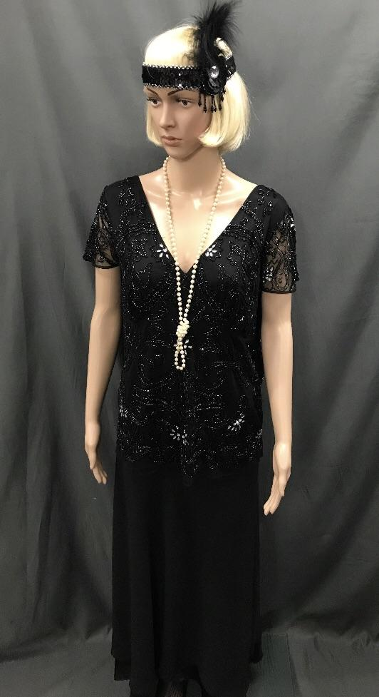 Roaring 20's Sequin Top Black and Long Black Skirt - Hire - The Costume Company | Fancy Dress Costumes Hire and Purchase Brisbane and Australia