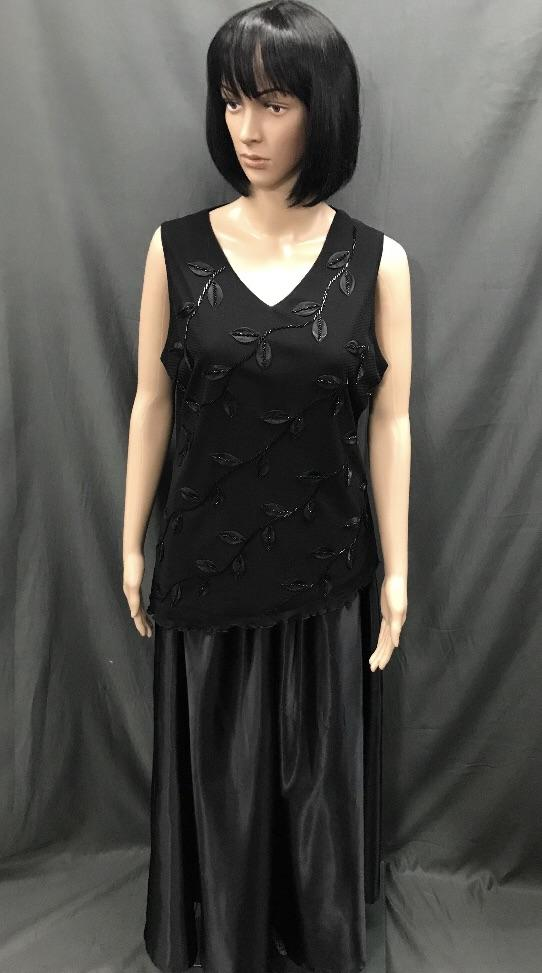 Roaring 20's Sequin Top Black No Sleeves and Long Black Skirt - Hire - The Costume Company | Fancy Dress Costumes Hire and Purchase Brisbane and Australia