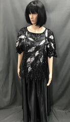 Roaring 20's Sequin Top of Black and Silver Leaves with Long Skirt - Hire - The Costume Company | Fancy Dress Costumes Hire and Purchase Brisbane and Australia