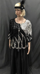 Roaring 20's Sequin Top of Black and Silver with Long Skirt - Hire - The Costume Company | Fancy Dress Costumes Hire and Purchase Brisbane and Australia