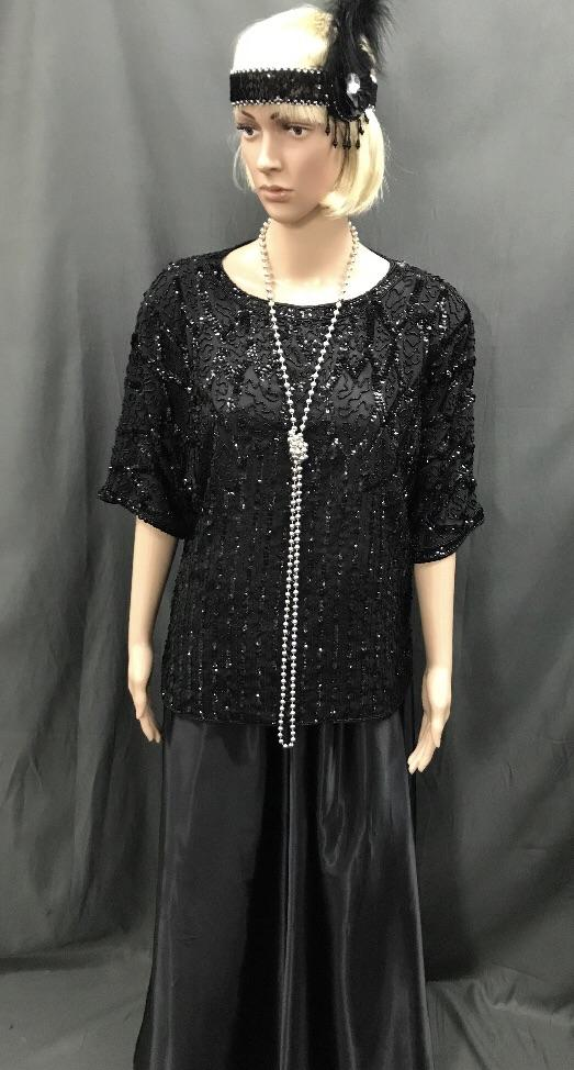 Roaring 20's Sequin Top Plus Size and Long Black Skirt - Hire - The Costume Company | Fancy Dress Costumes Hire and Purchase Brisbane and Australia