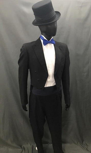 Suit Black Tails with Blue Tie - Hire - The Costume Company | Fancy Dress Costumes Hire and Purchase Brisbane and Australia