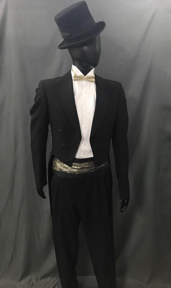Suit Black Tails with Gold Tie - Hire - The Costume Company | Fancy Dress Costumes Hire and Purchase Brisbane and Australia