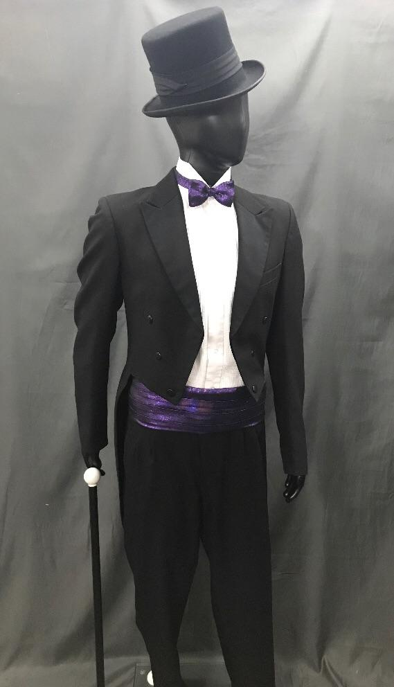 Suit Black Tails with Purple Tie - Hire - The Costume Company | Fancy Dress Costumes Hire and Purchase Brisbane and Australia