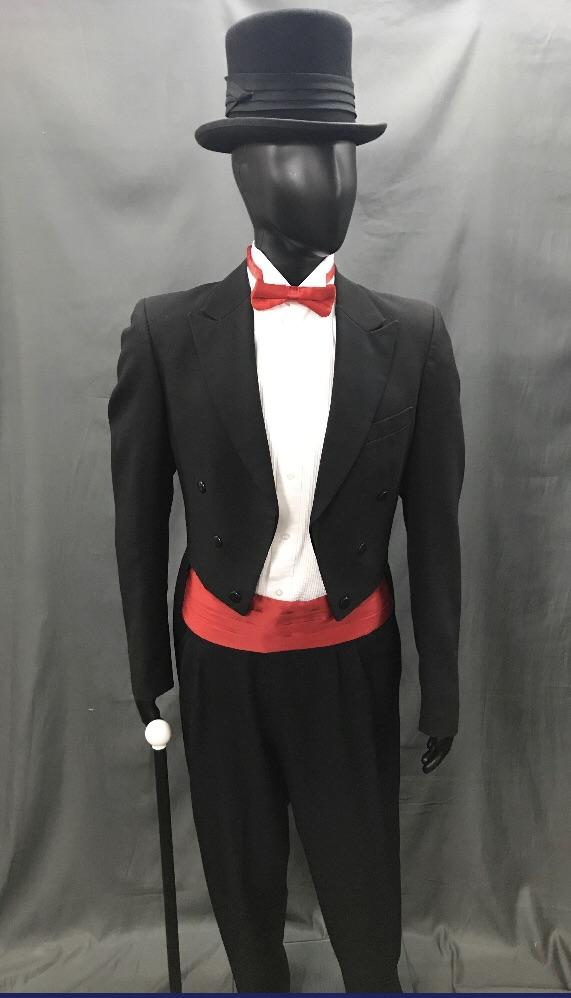 Suit Black Tails with Red Tie - Hire - The Costume Company | Fancy Dress Costumes Hire and Purchase Brisbane and Australia