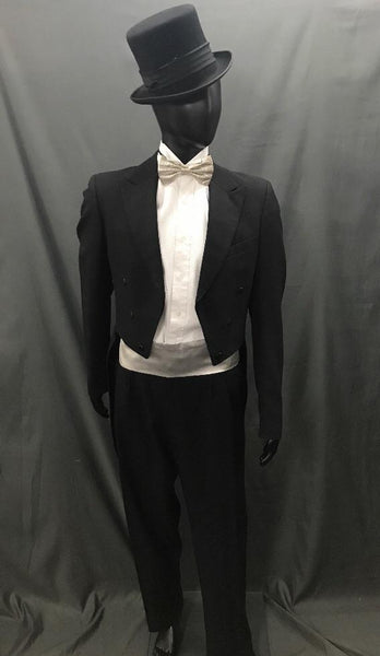 Suit Black Tails with Silver Tie - Hire - The Costume Company | Fancy Dress Costumes Hire and Purchase Brisbane and Australia