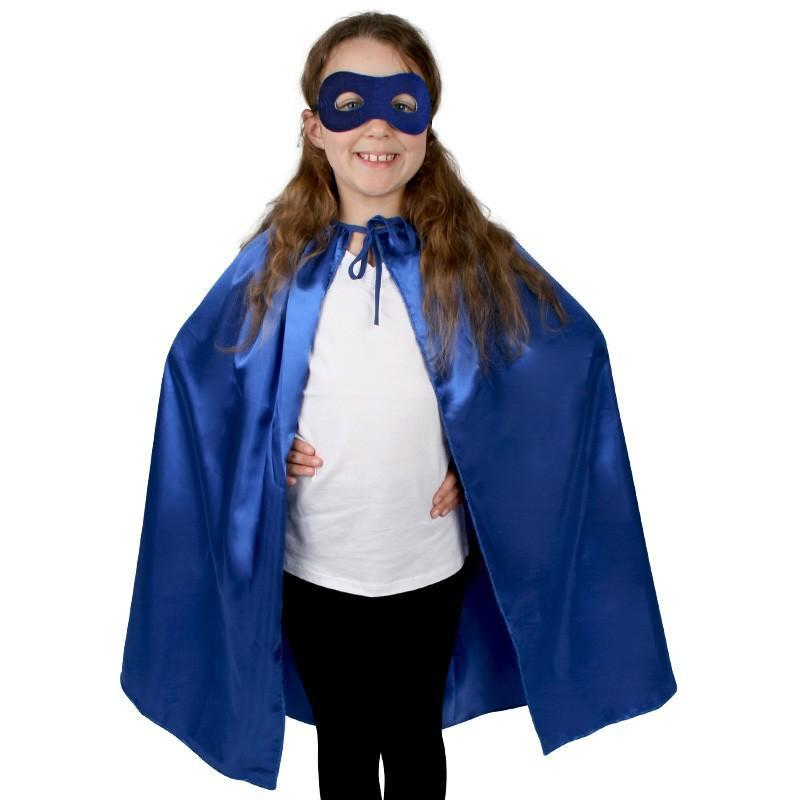 Superhero Cape and Mask Blue Set - The Costume Company | Fancy Dress Costumes Hire and Purchase Brisbane and Australia