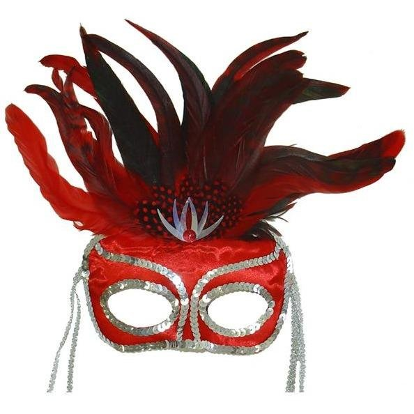 Suzette Red Masquerade Mask - The Costume Company | Fancy Dress Costumes Hire and Purchase Brisbane and Australia
