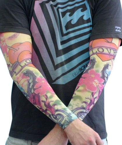 Tattoo Sleeve Coloured Love Design - The Costume Company | Fancy Dress Costumes Hire and Purchase Brisbane and Australia