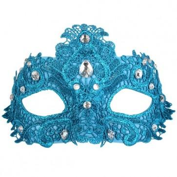 Turquoise Crystal Lace Masquerade Mask - The Costume Company | Fancy Dress Costumes Hire and Purchase Brisbane and Australia