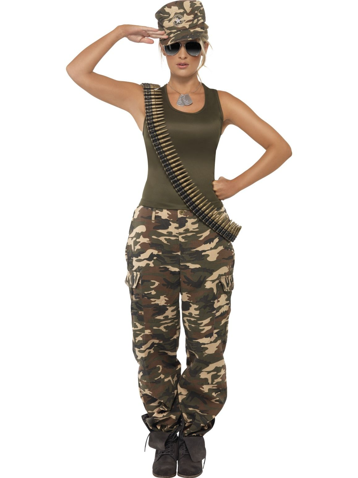 Combat Soldier Womens Khaki Camo Costume - Buy Online Only