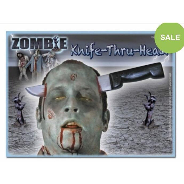 Zombie Knife Through Head - The Costume Company | Fancy Dress Costumes Hire and Purchase Brisbane and Australia