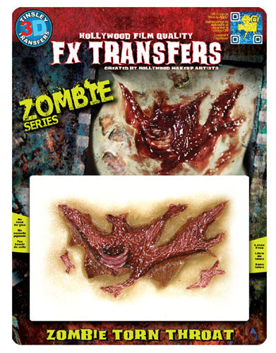 Zombie Torn Throat 3D Transfers - Buy Online Only