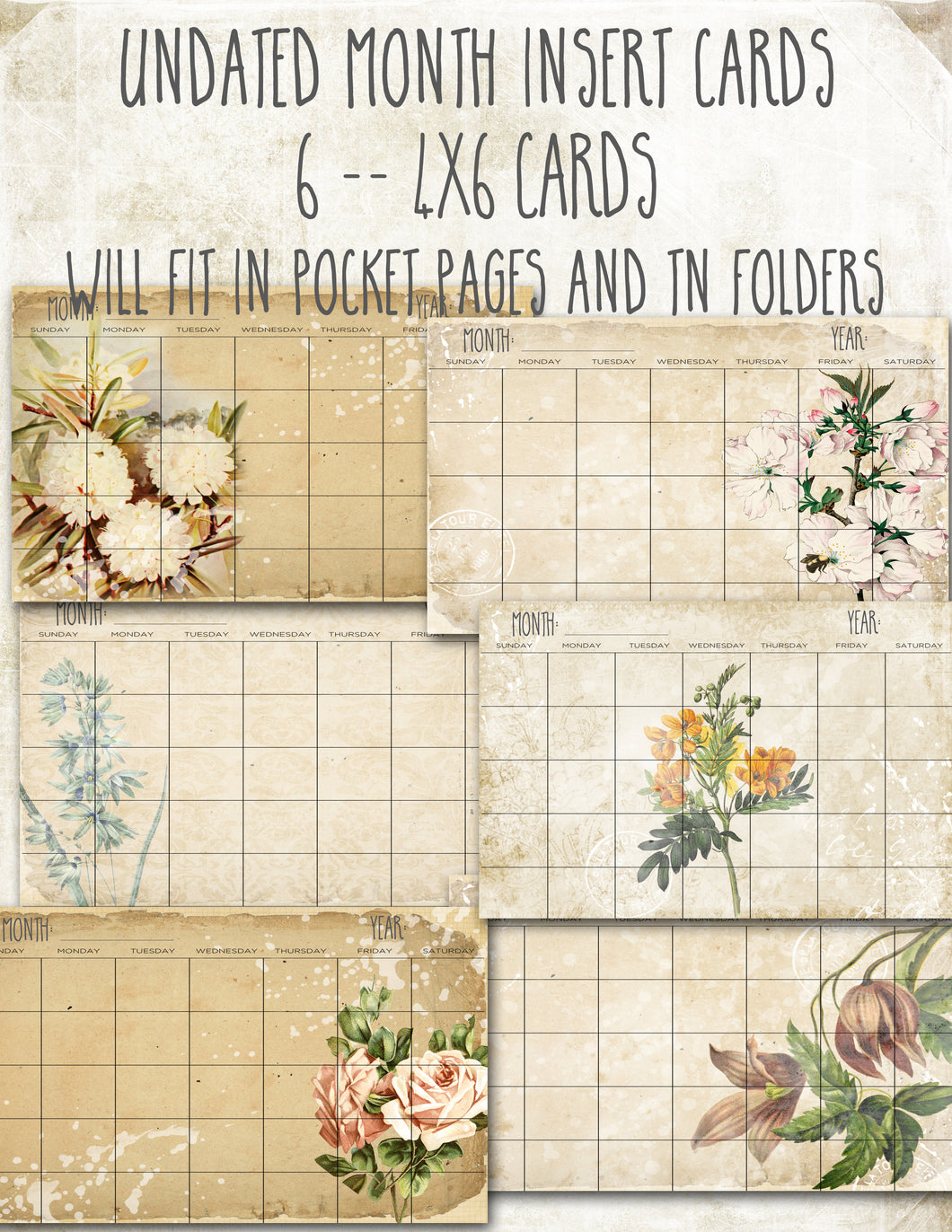 Vintage Flowers 4X6 undated Monthly cards - DIGITAL
