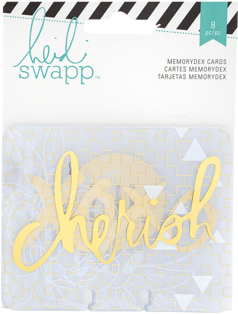 Heidi Swapp - Memorydex Cards, Clear with Gold Foil
