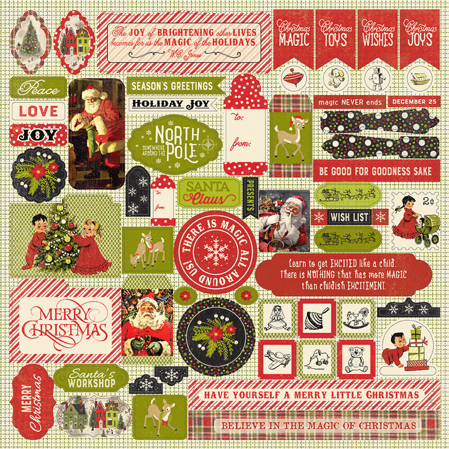Authentique Paper - 12x12 Sticker Sheet - A Magical Christmas