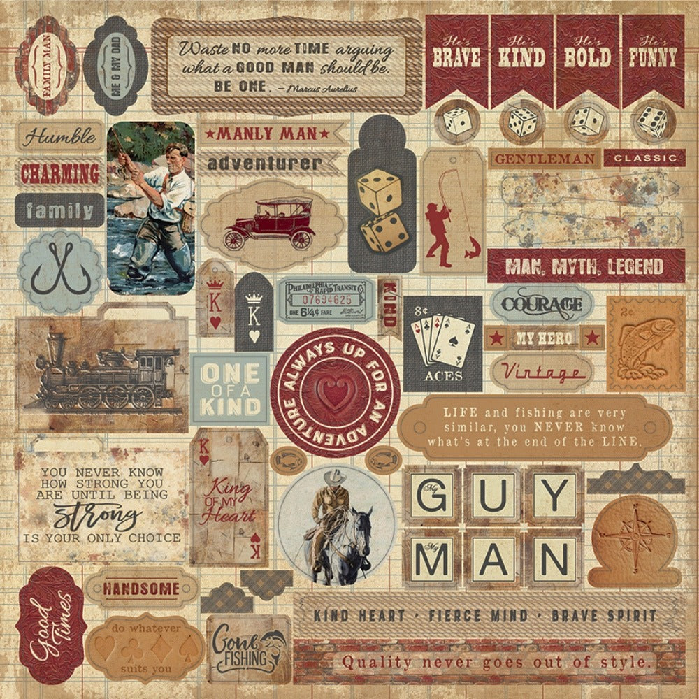 Authentique Paper - 12x12 Sticker Sheet - Manly