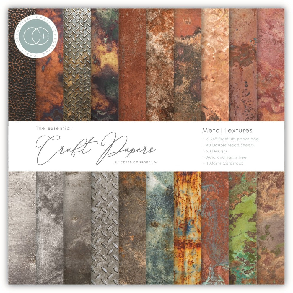 Craft Consortium - 6x6 Essentials Paper Pad - Metal Textures
