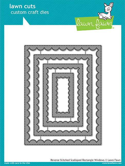 Lawn Fawn - Reverse Stitched Scalloped Rectangle Windows - DIE