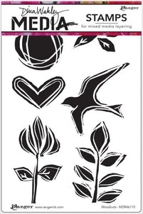 Dina Wakley Media - Cling Stamp, Woodcuts