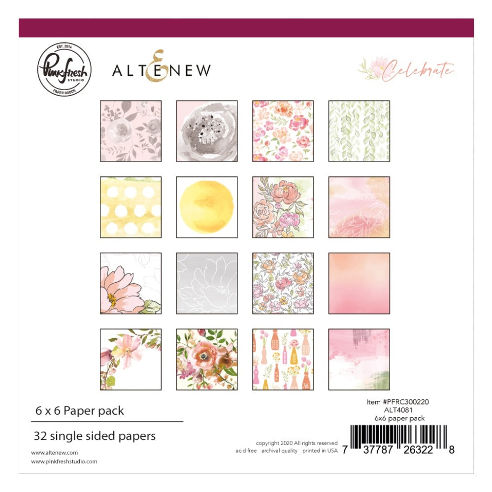 PinkFresh Studio & Altenew - 6x6 Paper Pack - Celebrate