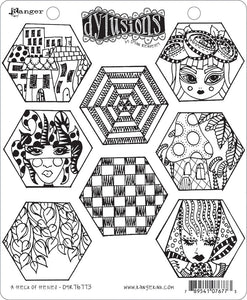 Dylusions Stamp - A Heck of Hexies