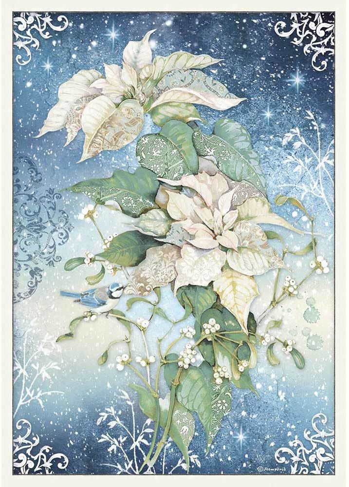 Stamperia Rice Paper for Decoupage A3 - Winter Tales - Poinsettia White