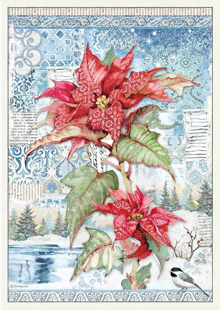 Stamperia Rice Paper for Decoupage A3 - Winter Tales - Poinsettia Red