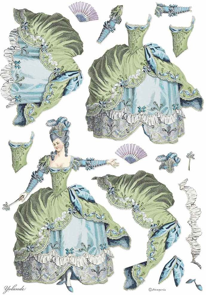 Stamperia Rice Paper for Decoupage - A3 Rice Paper, Princess - Lady Green