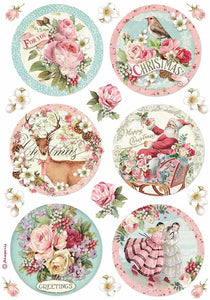 Stamperia Rice Paper for Decoupage - Pink Christmas