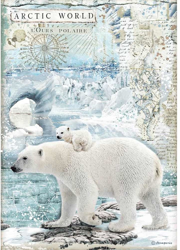 Stamperia Rice Paper for Decoupage - Arctic Antarctic - Artic World Polar Bears