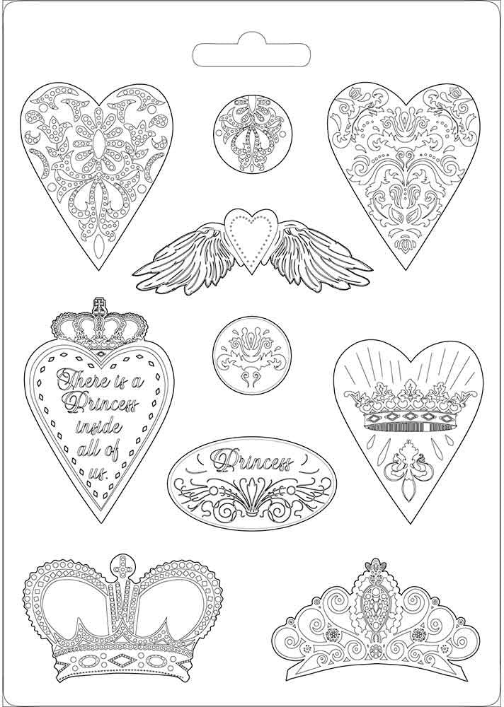Stamperia - Soft Mould - A4 size Princess Hearts and Crowns