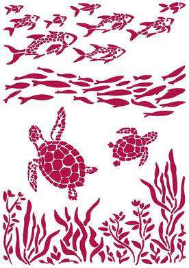 Stamperia - Stencil - Romantic - Sea Dream - Fish & Turtles