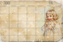 4x6 Monthly undated cards vintage children - DIGITAL