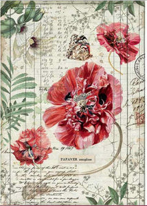 Stamperia Rice Paper for Decoupage - Poppies