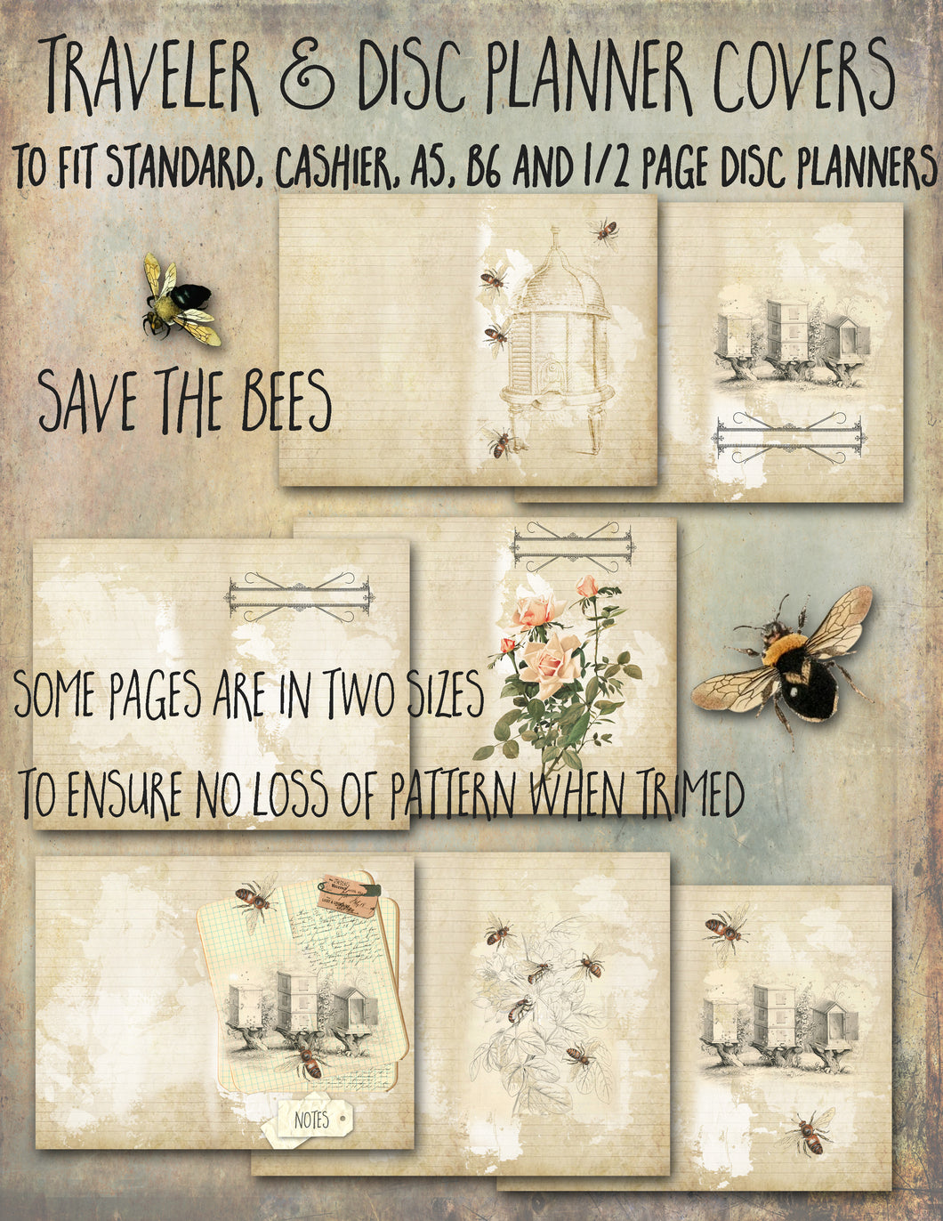 Save the Bees, Traveler Notebook, Junk Journal pages and covers - DIGITAL
